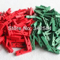 baby clothespins - 50 mini wooden pegs for Christmas Decoration Craft Clips Color ClothesPins mm Red Green Xmas Tree Baby Shower Decor