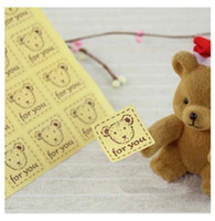 Wholesale lovely bear cm baking hot square gift package paper adhesive sticker