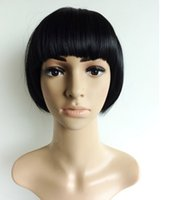 Wholesale 2016 Neitsi Halloween Fashion Synthetic Hair Straight Short Wigs Cheap Full Lace Bob Wig Style Natural black For Cosplay Party