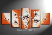 Wholesale 100 Hand painted Piece Set White Flower Oil Painting On Canvas Home Wall Decoration Modern Art Picture For Living Room Sale
