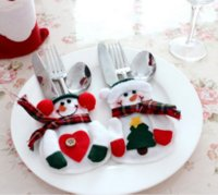 Wholesale 2PCS CMX9CM Tableware Decorations Snowman Silverware Holders Knife And Fork Bags Christmas Decorations Festive Party Supplies High Quality