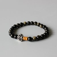 artisan bracelets - Golden Obsidian Beads Stretch Bracelet With Antique Copper Chinese Ethnic Lucky Charms Artisan Crafted Jewelry For Men