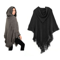 Wholesale 2017 Cape Pashmina New Fashion hooded Poncho cawl Scarf Women Warm Winter Knit Cloak Shawls Scarves Shawl Wrap
