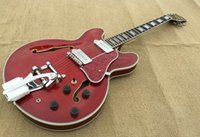 Wholesale 2015 New Arrival Top Quality Custom Shop Tiger Flame Maple with Tremolo Red Jazz Electric Guitar Semi Hollow Body