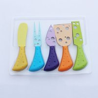 Wholesale 5Pcs set Cheese Knives Set Stainless Steel Knives Set Butter Fork Spreader with Colorful PP Handle Creative Kitchen Tool WA0327