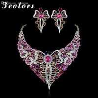 Vente en gros-Nouvelle Collection 18K plaqué or strass Costume Fashion Rose Parures Pour Sets Collier Brides Femmes Papillon Boucles d'oreilles