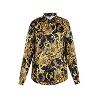 Wholesale Hot new arrival Fashion Wave Men s Shirt Floral Print Colour Mixture Luxury Casual Harajuku Shirts Long sleeved Medusa Shirts