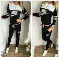 Wholesale European and American original single trade foreign trade letters printed hooded track suit fashion suit