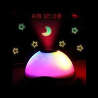 Wholesale Free DHL whole sale LED Backlight Clock Music Starry Star Sky Projection Alarm Clock Table Desk Electronic Clock For Kids With Projector