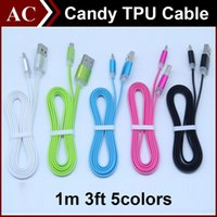 power line adapter - 1m ft Candy Color Metal Flat Micro USB Power Data Sync Cable Charging Line Noodle Transfer Charger Adapter For Smart Phone Samsung HTC LG