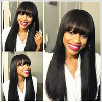 Wholesale Fashional celebrity wigs natural looking brazilian silk straight human hair front lace wigs full lace wigs with full bangs density