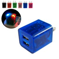 america usb adapters - 5V A Dual USB Home Charger Travel Adapter Wall Charger LED Colorful Transparent Universal America Mobile Phone Chargers