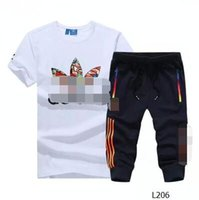 Wholesale 2016 new summer AD Sport Suit Shorts Men T shirt cotton T shirt casual pants seven running clothing printing L206