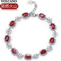 amethyst wine - Combustible volcano Silver Garnet Bracelet female fashion temperament crystal bracelet high end wine red natural garnet
