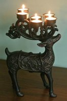 aluminum tealight cups - Deer Elk Candleholder with Tealight Candle Holder Cups Aluminum Alloy Metal Ornament Home Table Decor EMS Fast