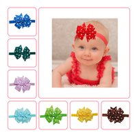 Wholesale Baby Girls Polka Dots Bowknot Elastic Headbands Handmade Ribbed Bow Girls Headdresses Children Fashion Hair Accessories Colors DH16042