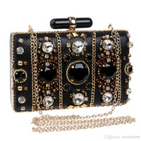 Wholesale Bridal Elegant Hand Bags for Wedding Solid Colors Shining Party Clutch Beaded and Crystals Formal Evening Ceremony Girls Bags Purses