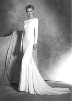 Wholesale 2016 Charmeuse Elastic Satin Sheath Column Wedding Dress Bateau Neckline Sweep Train Backless Custom Made Bridal Gowns DL10036