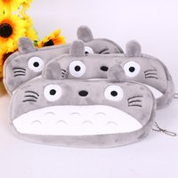 Wholesale TOTORO Pencil Bag School Kids Pen Cases Plush Zipper Cosmetic Bag Pouch Office School Writing Supplies Cartoon Purse Wallet Coin Holder