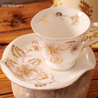 Wholesale CA013 Exquisite EU Style White Chinese Ceramic Coffee Cup with Flowers Enamel Porcelain Mug Cup pc Set Ceramic Coffee Set for Girls