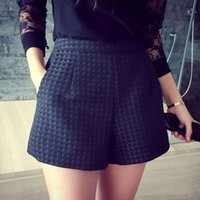 high waisted shorts - 2016 New Fashion Europe and Joker dark Plaid shorts high waisted shorts Korean Casual women Jeans Shorts crochet shorts