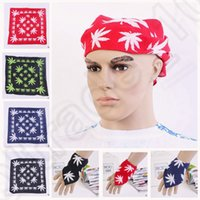 Wholesale 4 color LJJK153 Silk Scarf Square Large Headband Kerchief Head Wrap Kerchief Bandana maple leaf Outdoor Sports Headscarf