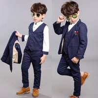 Wholesale New England Classic Style Boy s Formal Wear Cotton Three Four Piece Turn down Collar Suit Boy s Formal Wear