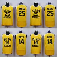 academy bank - 14 WILL SMITH Jerseys The Fresh Prince Carlton Banks Jersey OF BEL AIR Basketball BEL AIR Academy Yellow Shirt Black Green TV Sitcom