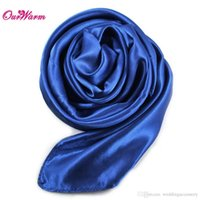 Cheap 10Pcs Satin Napkins on the table Large Square Silk Scarf 90*90cm for Table Christmas Decoration Home