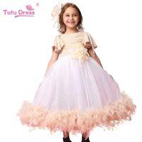 batik dress design - Hot Style New Design Evening Gowns Pincess Girl Feather tutu Dress Kids Girl Party Clothing Children birthday dress