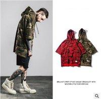 bamboo batting - 2016 New hip hop clothing high street bat sleeve cuff loose hooded Bamboo cotton camouflage Hoodies Men s fleece designer hoodies plus size