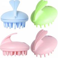 Wholesale Electric Cute Rabbit Head Massager Magic Shampoo Massage Comb Bath Massage Brush Scalp Massager Head Hair Care Vibrating Brush
