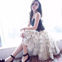 Wholesale Korean fashion new Tulle voile tutu layered cake skirt summer spring plus size Women cute wood ear Pleated ball gown party long skirt