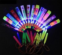 Wholesale 100pcs Novelty Children Toys Amazing LED Flying Arrow Helicopter for Sports Funny Slingshot birthday party supplies Kids Gift D725
