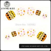 Wholesale 24 Warm Color Dot Design Toe Art Tips Elegant Acrylic False Toe Nail ABS Nail Art Jewelry Decoration Free Nail Glue Toe Ring