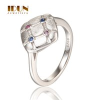Wholesale 2016 Fashion Sterling Silver Ring Square Shape With Red and Blue Crystal Couple Wedding Mens Rings Jewellery RIPY084