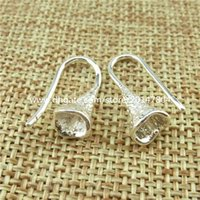 Wholesale 13821 Pair Copper Silver Plated Earring Findings Pinch Bail Earring Hook Wire