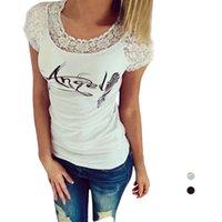 angels top cap - S5Q Women s Casual Loose Short Sleeve Lace Crew Neck Angel Wings Printing Tops AAAFXU