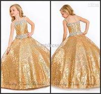Los ángeles perfectos 2016 de la manera de la nueva llegada rebordearon los cequis brillantes Bling Bling del oro rebordean los vestidos de la playa Los vestidos de la muchacha de flor de la playa