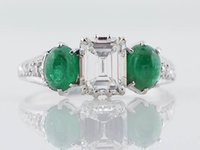 antique engagement ring art deco - Antique Engagement Ring Art Deco ct Emerald Cut Diamond in k White Gold