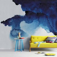 art watercolor paper - Gewu Art Modern oil painting abstract Watercolor shading Contracted and artistic conception Blue ink abstract background wall