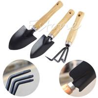 Wholesale Useful Mini Plant Garden Gardening Tools Set With Wooden Handle Tool Rake Shovel