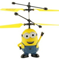 Wholesale Lovely Cartoon LED Flying Toys Minions Helicopter Quadcopter with Remote Control Kids Lighted Toys for Children P003
