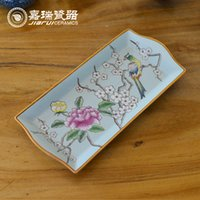 Wholesale High temprature baked hand painted Rectangular Ceramic tray Home Decor Porcelain Tea Tray
