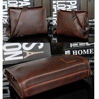 Wholesale 2016 Men s Briefcase Business Shoulder Leather Bag Men Messenger Shoulder Bags Handbag Crazy Horse Leather Sling Chest Pack bag hot sale