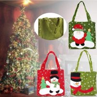 Wholesale Christmas Sack Gifts Bags Santa Claus Snowman Printed Candy Bags Xmas Ornaments Props Gifts SD055