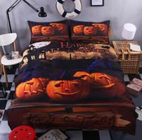 Wholesale 3D Print Bedlclothes Mischievous Halloween Pumpkin Bedroom Set Black Halloween Zombie Bed Sheet Kids Bedding Set