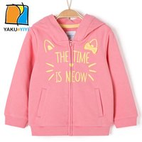 Imprimer Lettre Cute Cat Ear Girls Sweat à manches longues Zipper Fly Coats Décontracté Casual Style Kids Wear YAKUYIYI