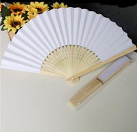 white hand fans - New cm White Bridal Fans Hollow Bamboo Handle Wedding Accessories Fans Can DIY Drawing on Fans