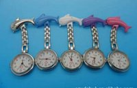 Wholesale Quality Fashion Silver Tone Fish Dolphin Nurse Watch Wear On Clothes Pin Tunic Fob Kid Child Lady